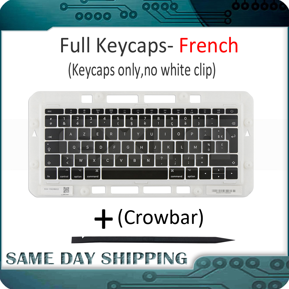 For Macbook Pro Retina 13 15 A1706 A1707 A1708 French AZERTY Keyboard Key Cap Keycaps AP12 AC12 Butterfly 2nd Keys 2016 2017 image