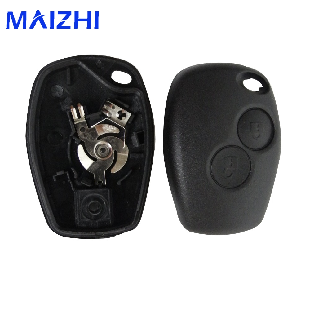 Jingyuqin Audew 2 Buttons Remote Car Key Shell for Renault No Chip Uncut Blade Car Key Case Flip Fob Car Cover