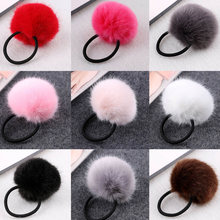 2019 สาว Faux Fur Scrunchies Pompom Elastic Hair Tie สำหรับ(China)