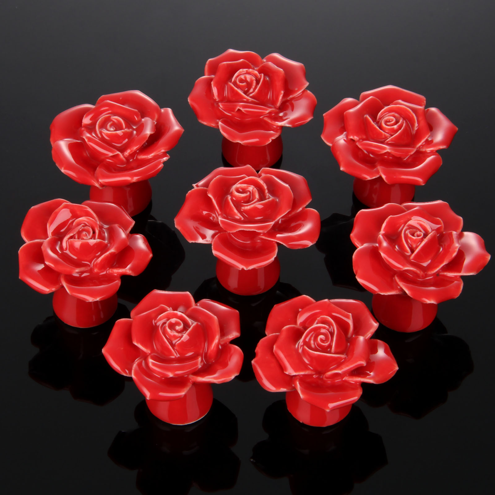 8Pcs Furniture Handles Ceramic Cabinet Knobs and Handles Door Cupboard Drawer Kitchen Pull Handles Furniture Fittings Red Rose