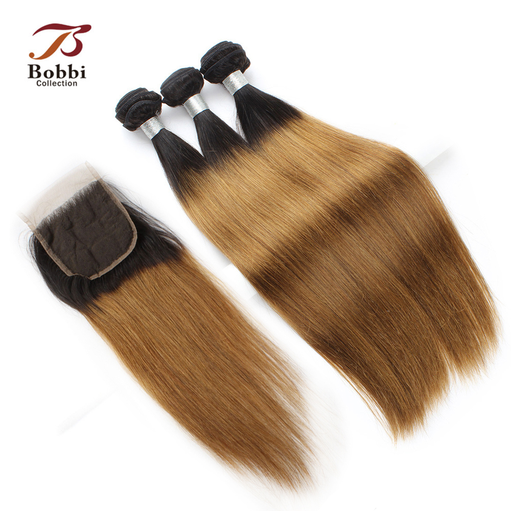 BOBBI COLLECTION T 1B 30 Ombre 2/3 Bundles With Closure Pre-Colored Indian Straight Non Remy Human Hair Extensions Hair Weave