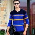 2016 Outono Inverno Pullovers Camisolas Marca de Moda dos homens Com Decote Em V Camisola Solta Camisola De Malha Masculina Puxar Hombre XXXL 50