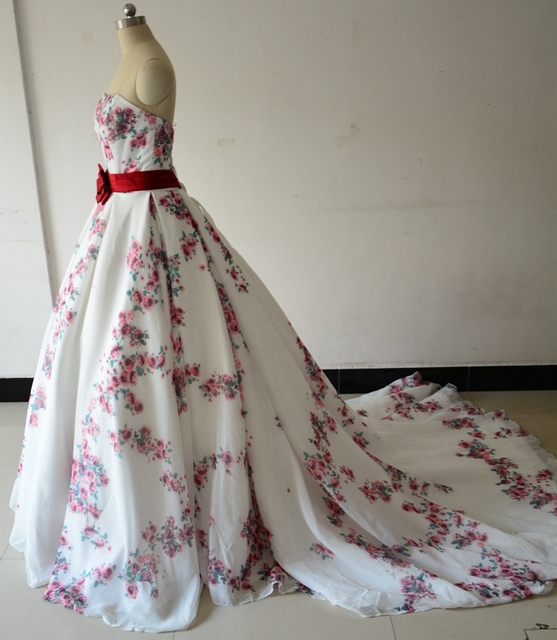 Real Photo Ball Gown Wedding Dresses Gowns Newest 2017 Rose Floral ...