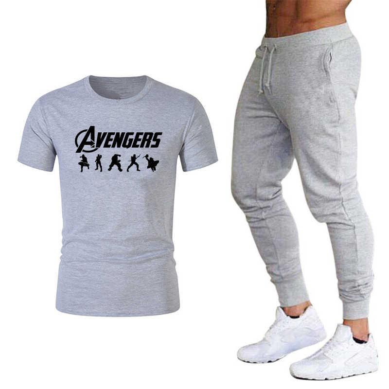 חדש מארוול Tshirts נוקמי סוף המשחק T חולצת גברים/נשים אמריקה קפטן סוף משחק T-חולצה + דק מכנסי טרנינג גיבורי חליפת חולצת טי