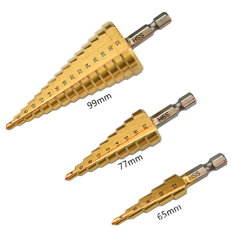 3Pcs Step Drill Bits Set High Speed Steel For Metal Wood Hole Cutter Power Tools Wood Drilling Power Tools jigong 3pcs set titanium step drill bits hss power tools high speed steel hole cutter wood metal drilling 3 12mm 4 12mm 4 20mm