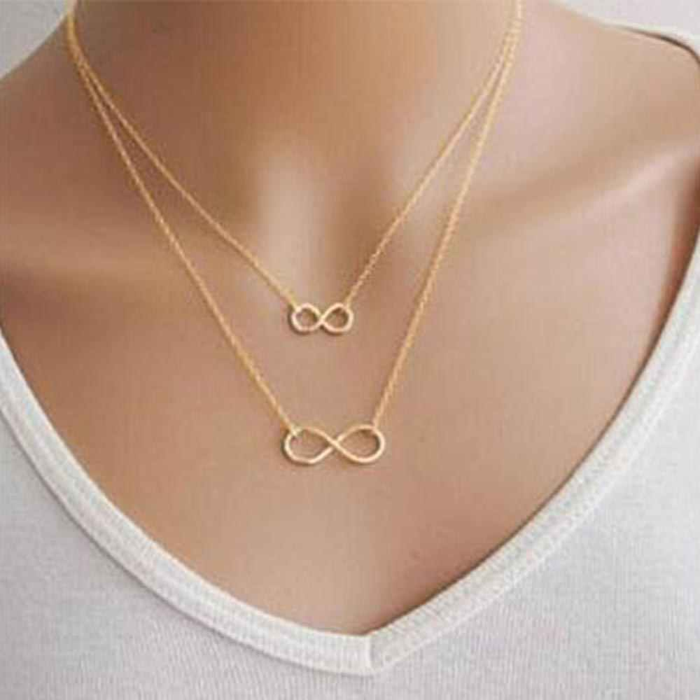KISSWIFE 2018 New Hot Gold Silver Women Girl Fashion Jewelry Double Infinity Pendant Necklace Wedding Event Necklaces