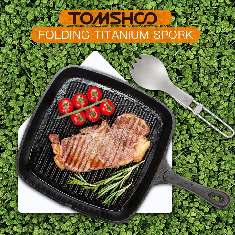 Image 5 - TOMSHOO Titanium Folding Spork Outdoor Camping Hiking Backpacking Dinner spork Utensil Tableware Outdoor Tableware-in Outdoor Tablewares from Sports & Entertainment