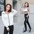 Nuevas mujeres Yoga Conjunto 3 unids manga larga cremallera Chaquetas Sports BRA fitness ropa deportiva transpirable jogging femenino Correr gimnasio ropa - 4