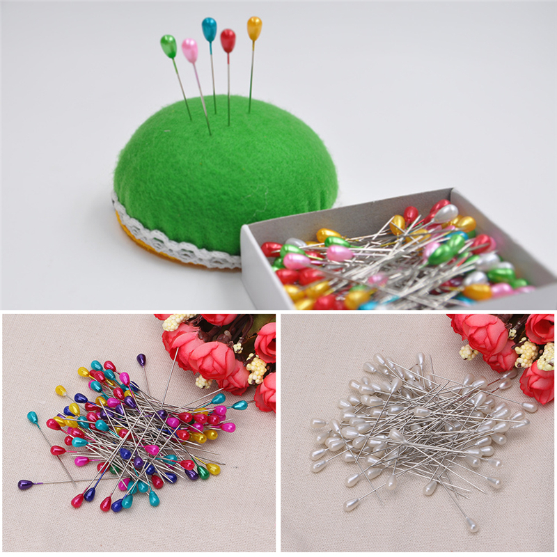 144Pcs Colorful Pearl Head Dressmaking Pins Weddings Corsage Florists Sewing Pin