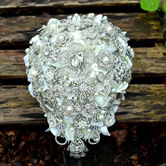 """cascading crystal wedding brooch.deposit -""""wedding mirror"""" art deco cascade bouquet .bridal broach bouquet bloome weddings FW105"""