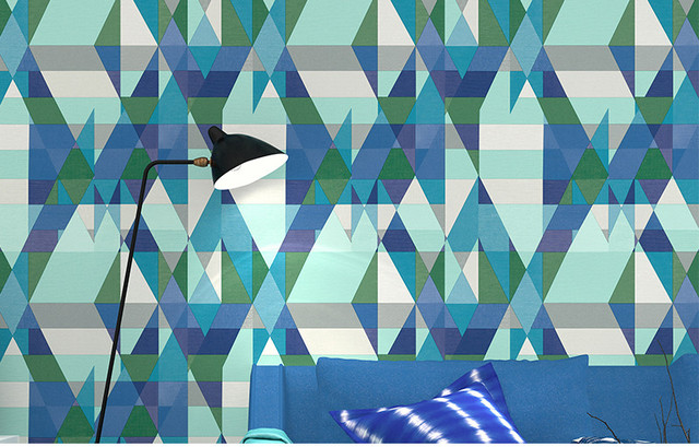 geometric graphics maze 3d shape effect wallpaper roll retro diamond