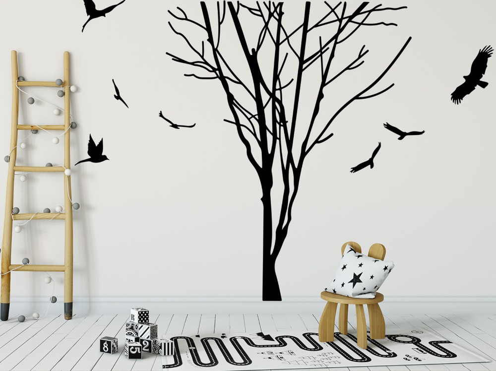 Large Tree Branch Trunk Birds Wall Decal Bedroom Kids Room Forest Nature Tree Trunk Branch Plant Animal Wall Sticker Vinyl Art (5)