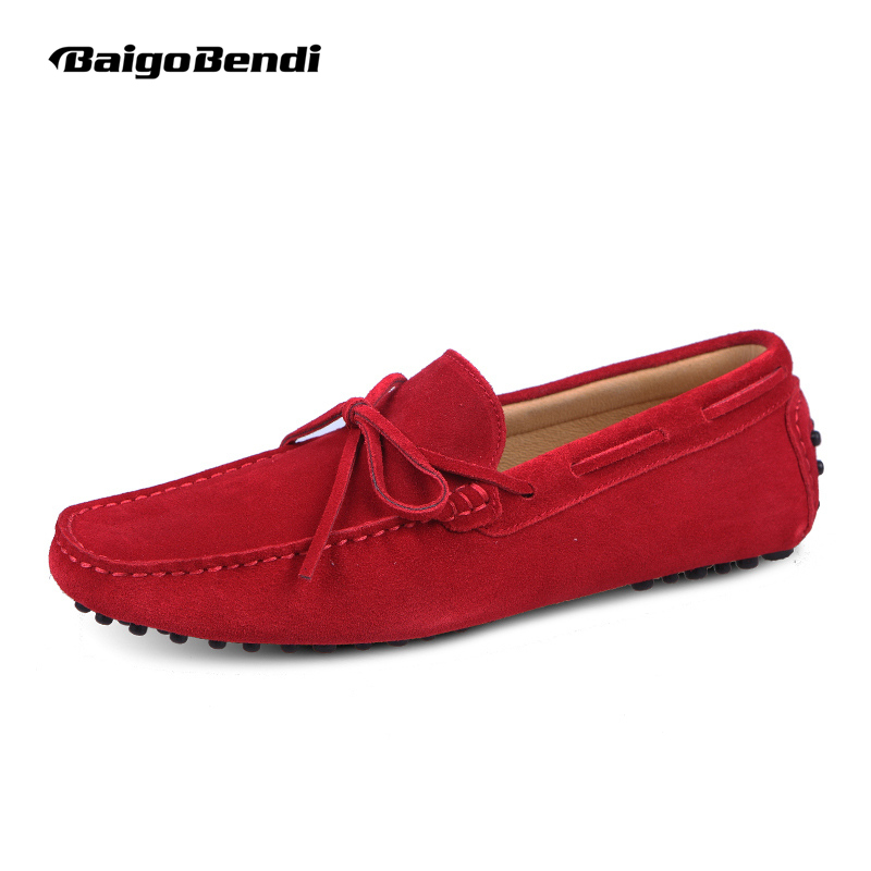 US6-12 Suede Leather Mens SLIP 0N loafers  casual CAR Shoes Moccasin men boat shoe tassel Loafer