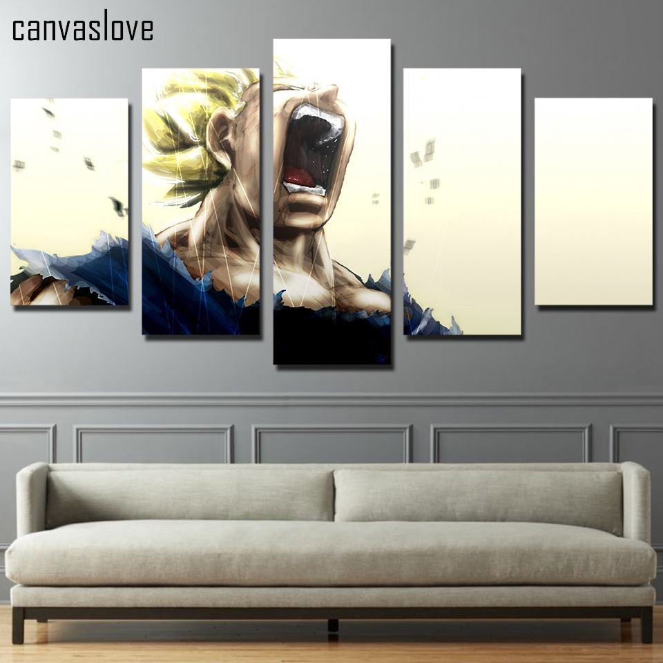 HD Printed 5 piece canvas art vegeta dragon ball z super saiyan painting pictures dragon ball poster Free shipping/ny-4903