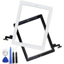 Para ipad 2 pantalla táctil de cristal digitalizador asamblea con 3 m adhesivo etiqueta engomada del pegamento y el botón de inicio de reemplazo negro blanco