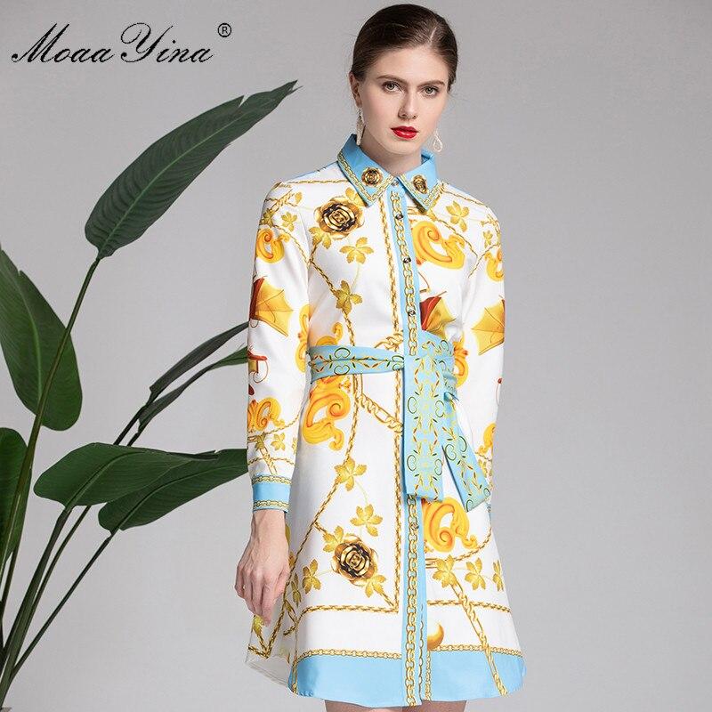 MoaaYina Mode Designer Runway Kleid Frühling frauen langarm Gürtel Vintage Floral Print Kleid Weibliche kleidung vestidos-in Kleider aus Damenbekleidung bei  Gruppe 3