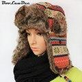 BooLawDee Alta qualidade homem aviador Russa chapéus adulto abas de orelha de inverno padrão floral bomber caps 56 cm 58 cm 60 cm 4A422