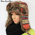 BooLawDee High quality winter man aviator hats Russian adult ear flaps floral pattern bomber caps 56cm 58cm 60cm 4A422