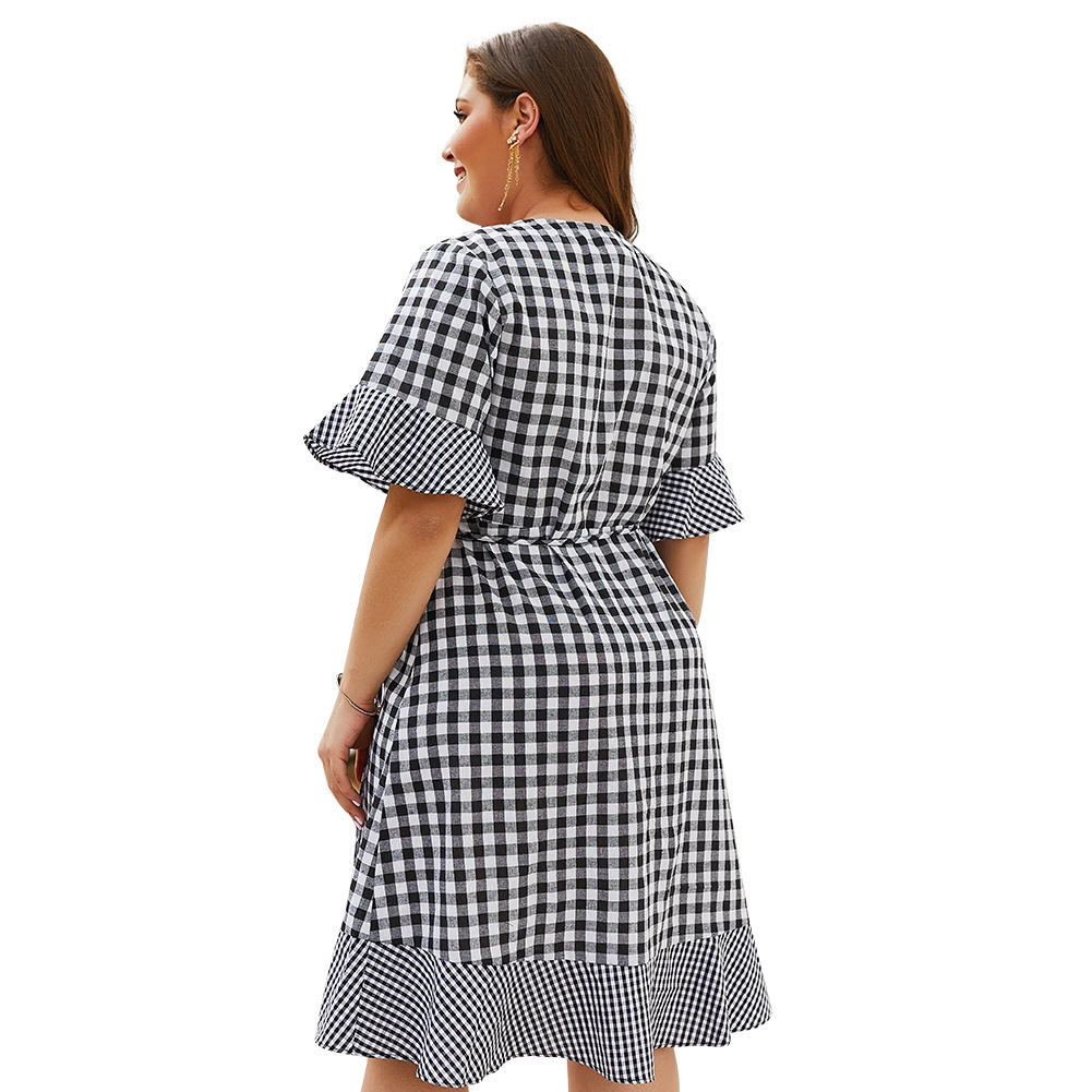 Vestido Longitud Cuello Tamaño Plus V Rodilla Oficina Línea Elegante Butteryfly Mujeres Dividir De Las Medio Cuadros Mangas Una pBnaqn1Y