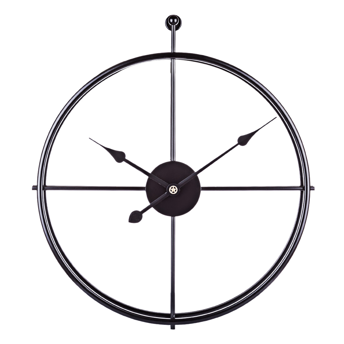 52cm Hot Popular Retro European Style Mute Iron Wall Clock Silent Hanging Clock For Home Office Decor - Black Frame And Pointer