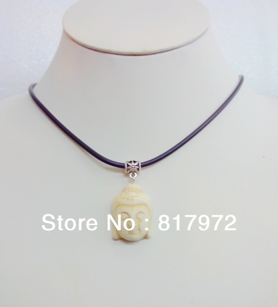 10pcs Simple Style White Stone Bead Carved Lucky Buddha Head Bib Chain Necklace hide rope Party Gift charm &6N00121