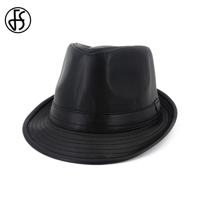 86149cedf1054 FS Autumn Black Faux Leather Fedora Gangster Hat Men Wide Brim Hats Felt  Women Winter Trilby Top Jazz Cowboy Cap 2018