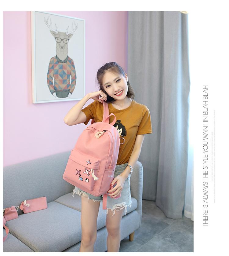 Menghuo 5 Pcsset Women Backpacks Cute Plane Badge School Bags For Teenage Girls Simple Canvas Backpacks Ladies Shoulder Bags (12)