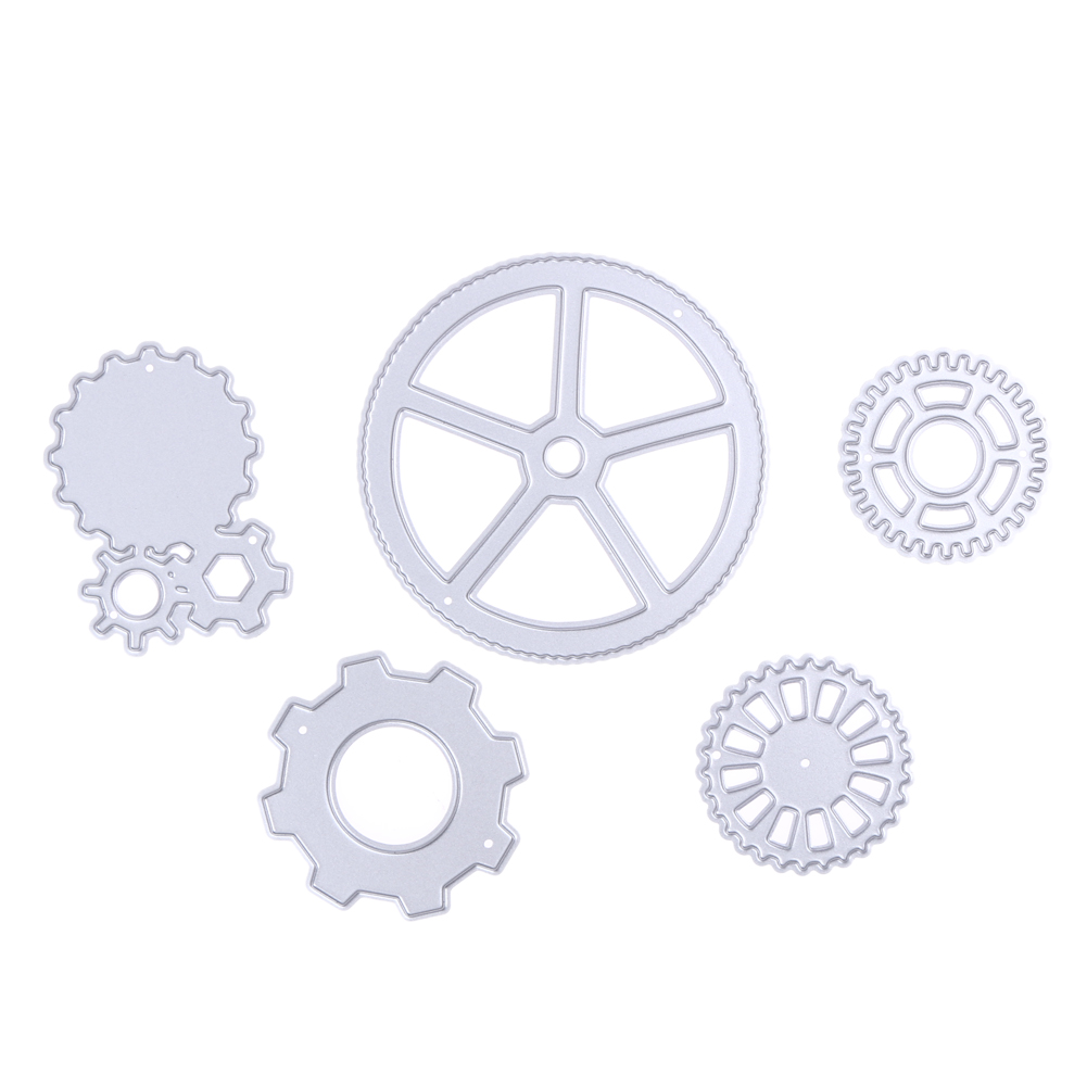 5Pcs/Set Metal Round Gear Cutting Dies DIY Stencil Scrapbooking Paper Card Album Craft For DIY Photo Album Decorative Template