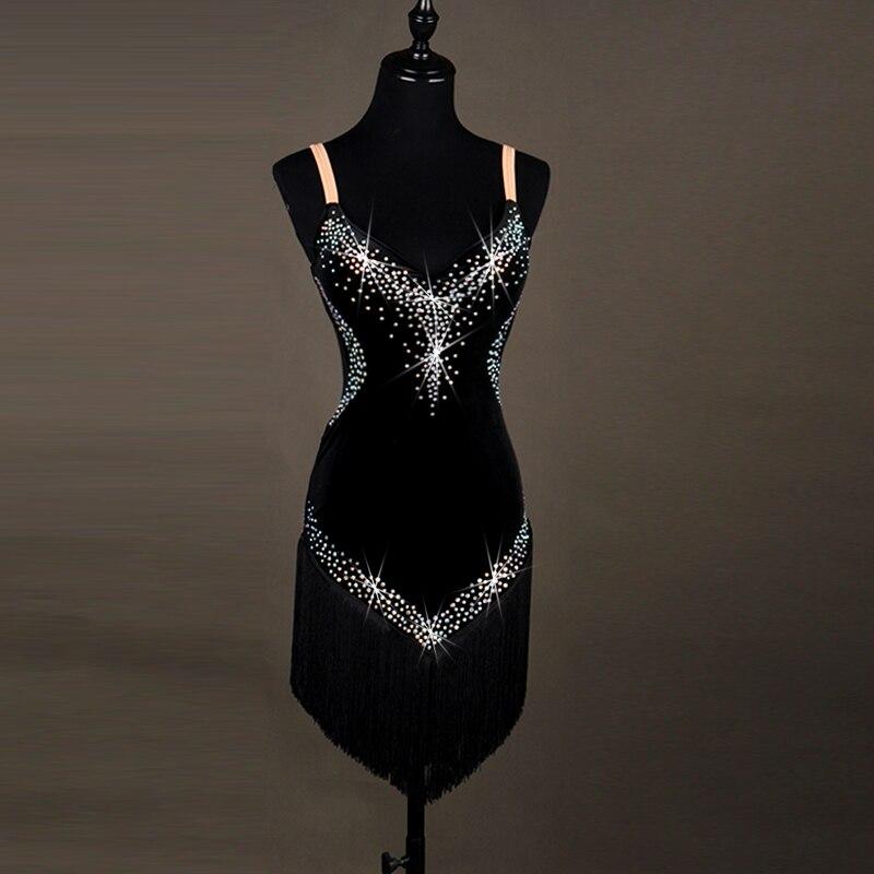2017 New Silk sling Latin Cha Cha Rumba Samba Tap Tango Waltz Dance Suit Tassel Dancing Dress For Adult Two Colors on Sale