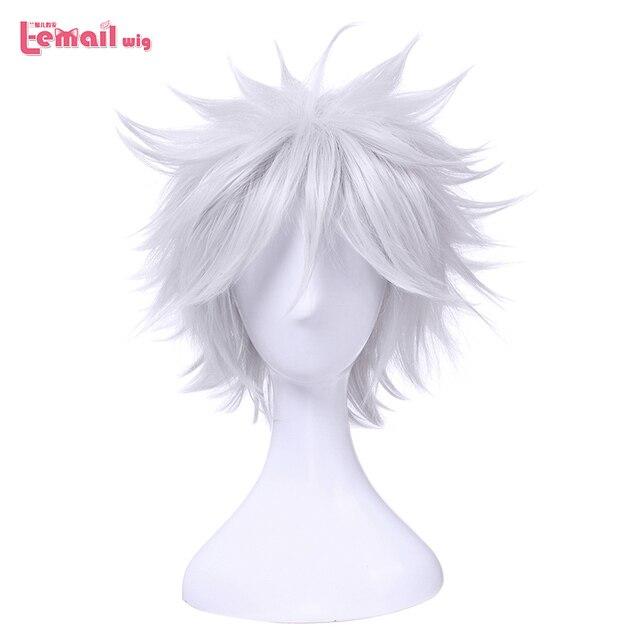 L email 가발 새로운 gintama gintoki 사카타 코스프레 가발 35 cm/13.8 인치 짧은 흰색 남성 합성 머리 페루 카 코스프레 가발