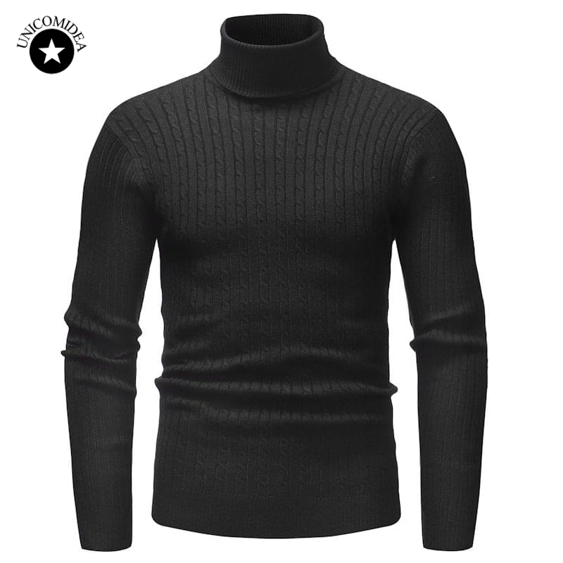Winter Warm Men Turtleneck Sweater Fashion Solid Knitted Slim Fit Pullovers Male Casual Double Collar Sweaters Mens Pull Homme(China)