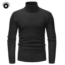 Зимний теплый мужской свитер с высоким воротом, модный однотонный вязаный приталенный пуловер, Мужской Повседневный свитер с двойным воротником, мужские свитера