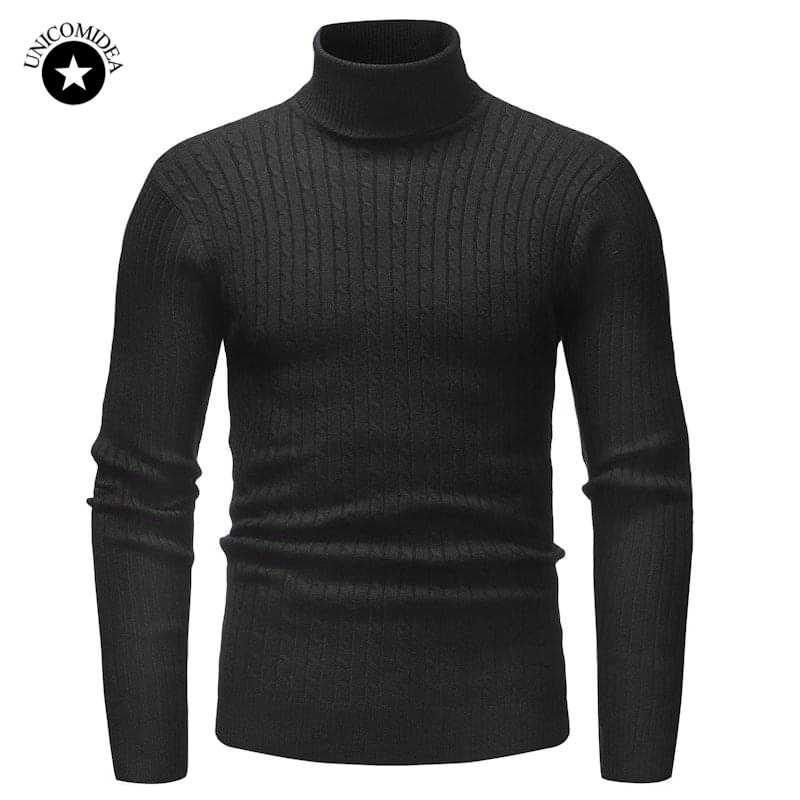 Winter Warm Men Turtleneck Sweater Fashion Solid Knitted Slim Fit Pullovers Male Casual Double Collar Sweaters Mens Pull Homme