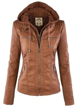 Faux Leather Jacket Women 2019 Basic Jacket Coat Female Winter Motorcycle Jacket Faux Leather PU Plus Size Hoodies Outerwear 7