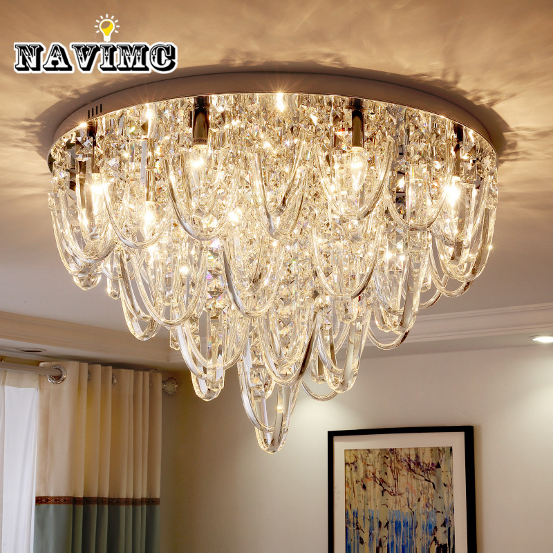 Luxury European Ceiling For Modern Home: Luxury Living Room Crystal Ceiling Light Simple Post