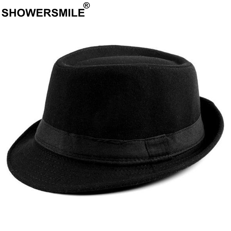 900f6cd7b2f SHOWERSMILE Burgundy Fedora Hat Men Vintage Woolen Jazz Hat Women Casual British  Style Classic Autumn Cap And Hat Gentlemen New-in Fedoras from Apparel ...
