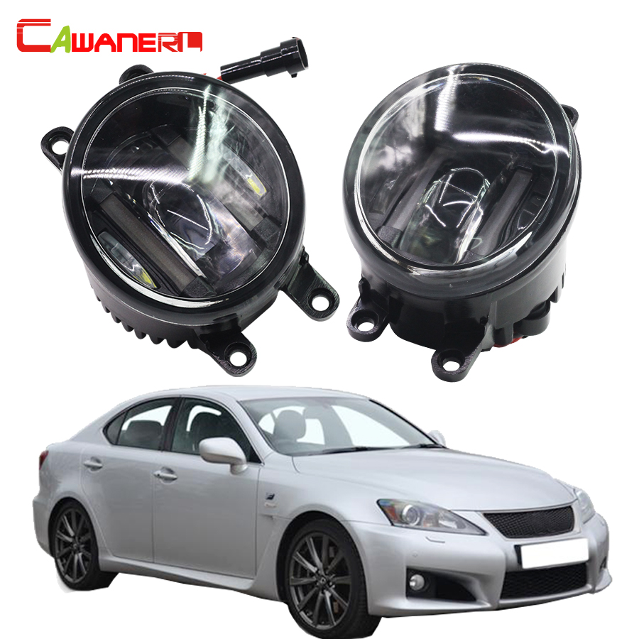 Cawanerl 1 Pair Car LED Fog Light White Daytime Running Lamp DRL 12V High Power For Lexus IS F 5.0L V8 2008-2012 cawanerl 1 pair car light led fog lamp drl daytime running light white 12v for subaru trezia hatchback 1 3 1 4d 2011 onwards