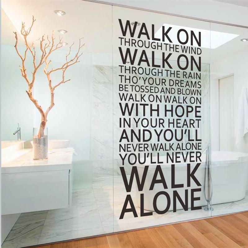 ποτέ δεν θα περπατήσετε μόνη εμπνευσμένη εισαγωγικά αυτοκόλλητα τοίχων διακοσμητικό δωμάτιο σπίτι decals vinyl τέχνη liverpool στίχοι τραγουδιών της ομάδας