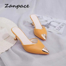 Zanpace Female Slippers High Thin Heels Woman Shoes Sexy Pointed Top Outdoor Slides Fashion Summer House Slippers Flip Flops цена 2017