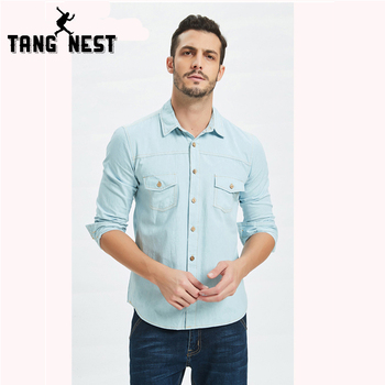 TANGNEST Men's Shirt 2019 Spring Shirt Solid Color Stylish Simplicity Men's Casual Shirt Men's Slim Long Sleeve Shirt MCL1556