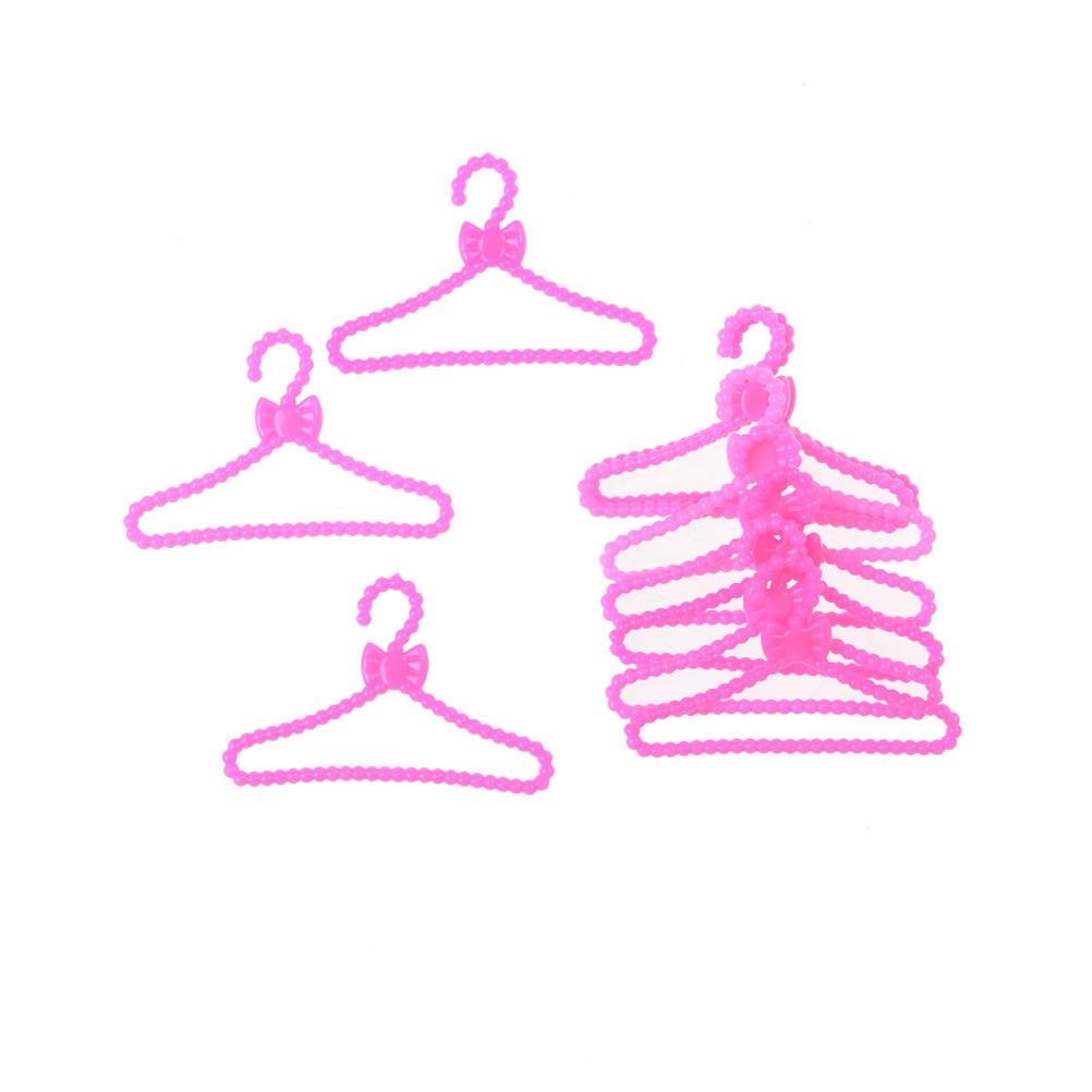 20x Pink Hangers for Dolls Clothes Accessories Plastic Hangers Toys El