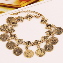 1Pc Vogue Fashion Fashion Women Jewelry Popular Charming Moon Lovers  Coin Silver Anklet Bracelet Gypsy Beachy Bangle Chain New