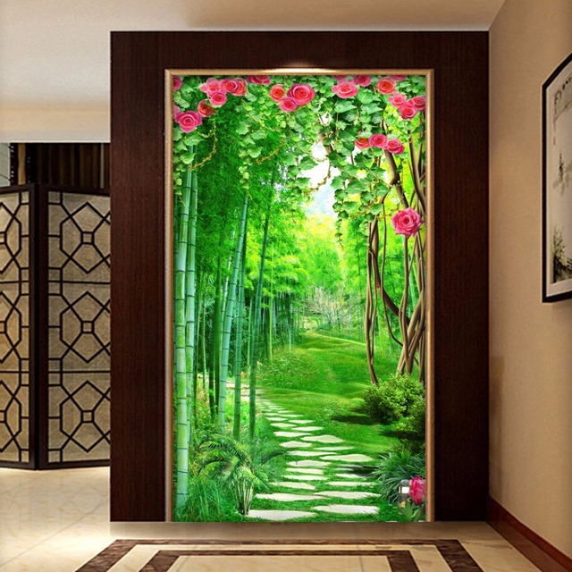 Custom Wall Mural Wallpaper For Walls 3D Flower Vine Bamboo Forest Small  Road 3D Entrance Hallway Part 98