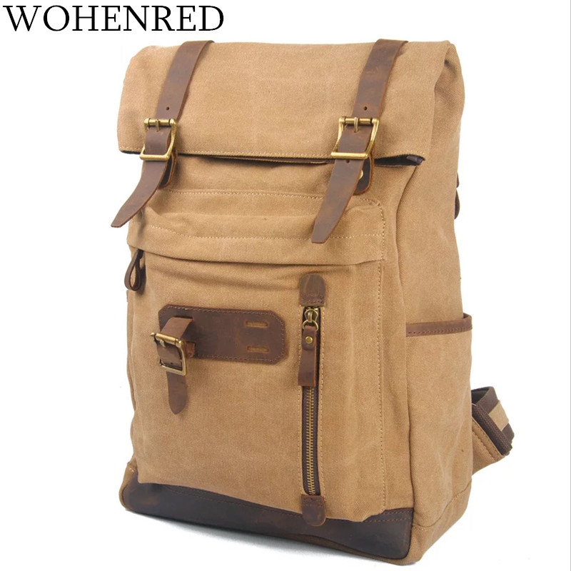 Men's Backpacks Vintage Canvas Leather Backpack Daily School Bag Male Travel Bags Large Capacity Brand Laptop Backpack Rucksack large capacity backpack laptop luggage travel school bags unisex men women canvas backpacks high quality casual rucksack purse