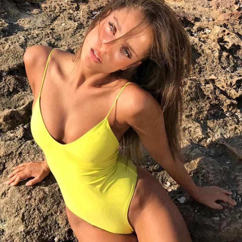 Бикини 2017, сексуальный Высокий крой, трикини, пляжная одежда, бандаж, купальник, пуш-ап, монокини, боди, одежда для плавания, женские стринги, Одноцветный купальник