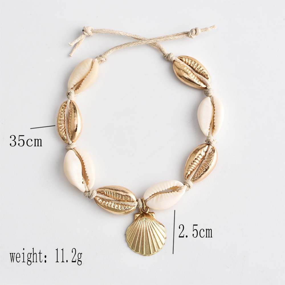 Vintage Antique Gold Color Anklet Women Shell Sequins Beads Geometric Bracelet Charm Bohemian Ankle Bracelet Boho Foot Jewelry