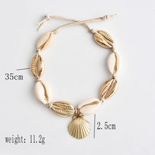 Vintage Antique Gold Color Anklet Women shell sequins Beads Geometric Bracelet Charm Bohemian Ankle Bracelet Boho Foot Jewelry(China)