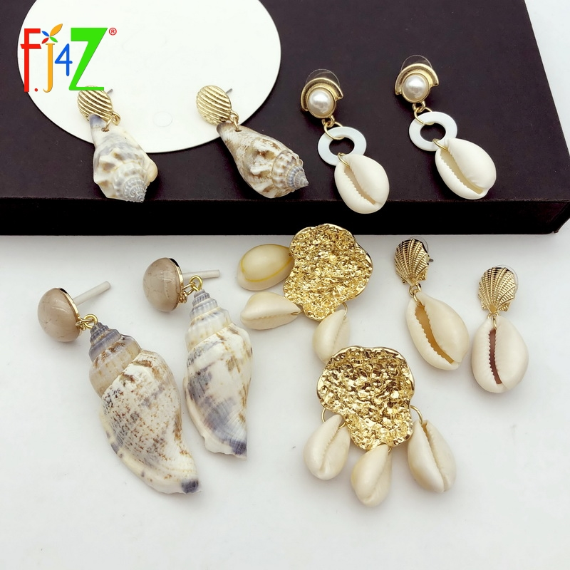 F.J4Z Hot Sea Shell Earrings Women Nature Conches Charms Summer Beach Jewelry Cowries Accessories
