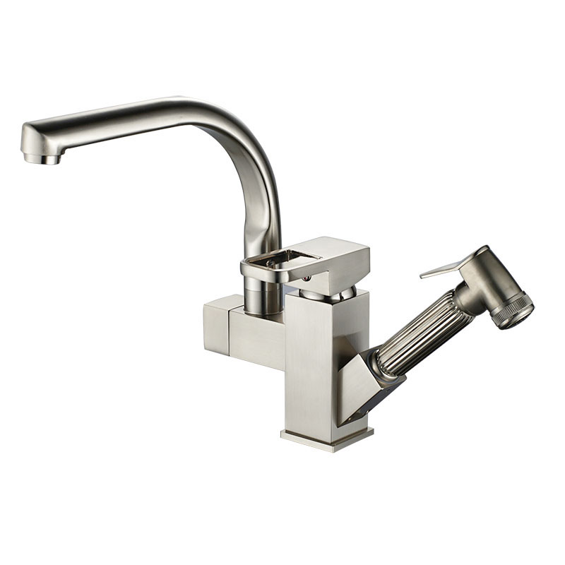 Brushed Nickel Kitchen Bathroom Faucet Brass Basin Sink faucet Mixer Tap Cold Hot Water taps Robot Design Pull Out Spray JK011N xoxo kitchen faucet brass brushed nickel high arch kitchen sink faucet pull out rotation spray mixer tap torneira cozinha 83014