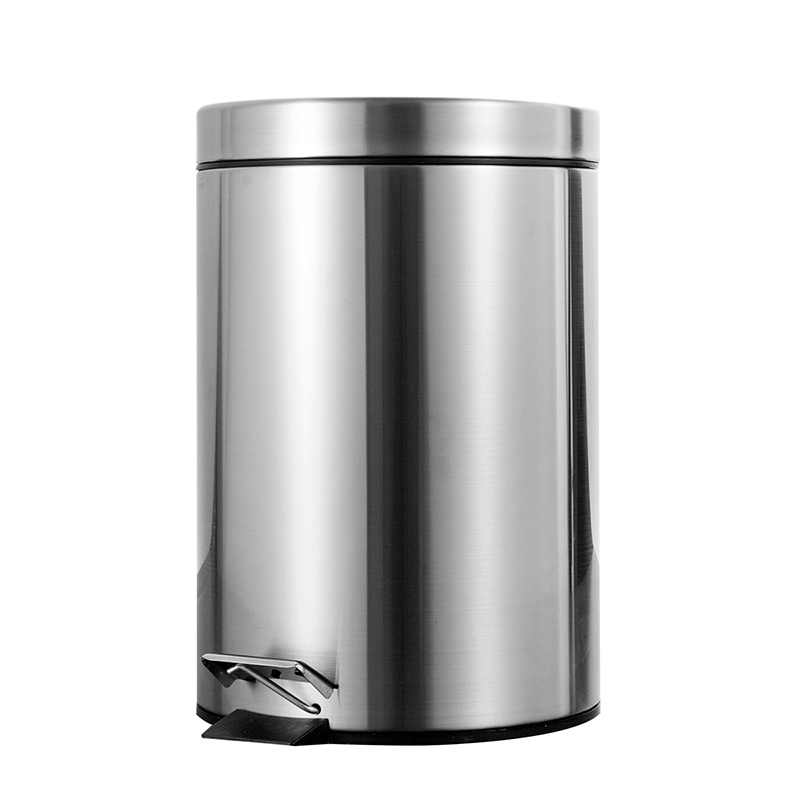 7L Bathroom Trash Can Round Step Foot Pedal Dustbin Bucket with Lid MIni Desktop Toilet Kitchen Car Bucket Garbage Can